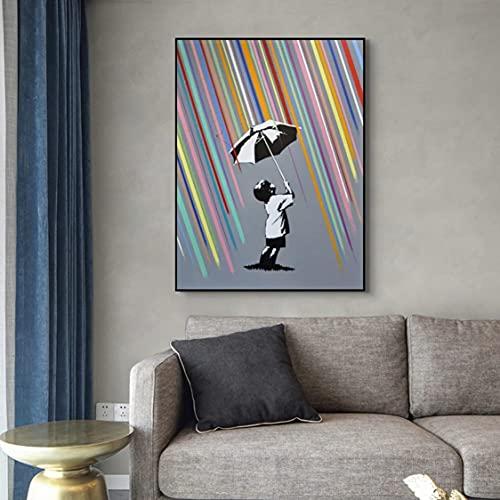 Danjiao Graffiti Art Rainbow Rain Boy And Girl Pintura Abstracta En Lienzo Póster Cuadros Arte De Pared Para La Decoración Del Hogar De La Sala De Estar (Sin Marco) Decor 40x60cm