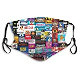 Broadway Show Logo Collage Reusable Face Shield Dust with 2 Filter Filter Unisex Reusable Fashion Washable Masks