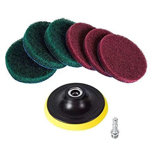 Almabner - Juego de discos de lija de 10,16 cm para taladro eléctrico, varilla de conexión y estropajo, herramienta eléctrica de limpieza para taladro y molinillo giratorio