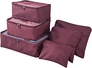 Cckuu 6 PCS Nylon Travel Luggage Storage Clothes Packing Organizer Cosmetic Bags (Burgundy)