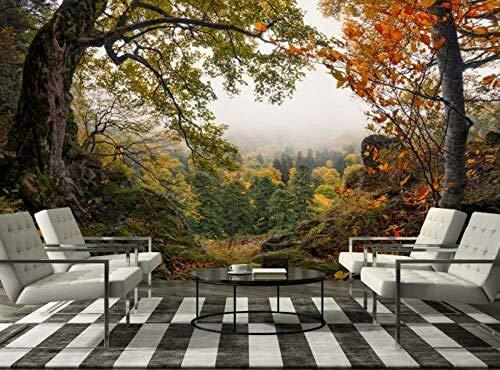 Wotomou 3D-achtergronden - panorama herfstbos fotobehang muurschilderij decoratief papier poster - fotobehang