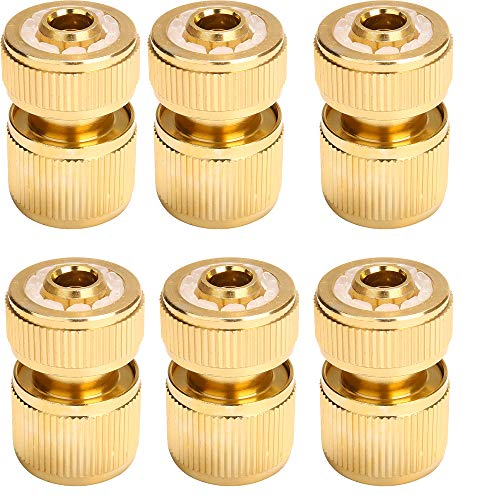Tuinslang Snelkoppeling 1/2 inch Tuinslang Connect Koper Slangadapter Tuinslang reparatie connector Waterpas Connector,6pcs