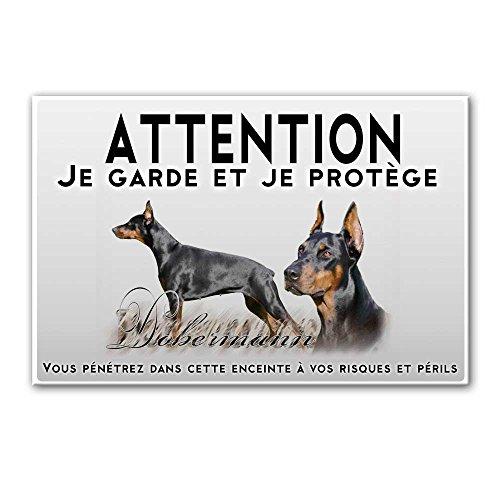 Pets-easy Plaque Attention au Chien Femelles Dobermann