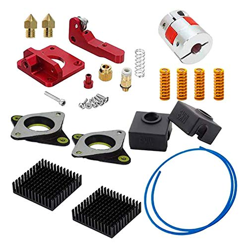Upgrade 3D Printer Kit with 1 Meter PTFE Teflon Tube, MK8 Metal Feeder Extruder Frame, Pneumatic Couplers and 0.4mm Brass Nozzles Fit for Ender 3/3 Pro/CR-10 /10S