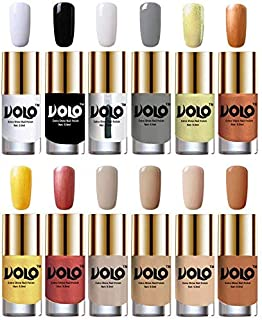 Volo Luxury Super Shine Nail Polish Set of 12 Vibrant Shades (Matte White, Black, Extra Shine Top Coat, Grey, Chrome Olive Green, Bronze Magnetic, Gold Chrome, Hot Lava, Nude Tude)