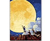(Sin Marco) Pinturas Al Óleo De Bricolaje Por Números Dibujos Animados Figura Noche Abstracta Luna I...