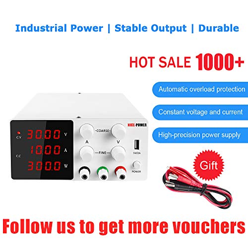 NICE-POWER Adjustable Bench Power Supply (0-30V, 0-10A) Variable DC Power Supply for Lab Power Supplies, DC Universal Regulated Switching Power Supply with Alligator Leads Power Cord