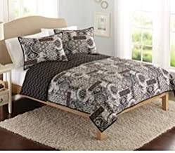 Keeco Better Homes and Gardens Global Patchwork Quilt, Full/Queen, 1 Piece, Light Black