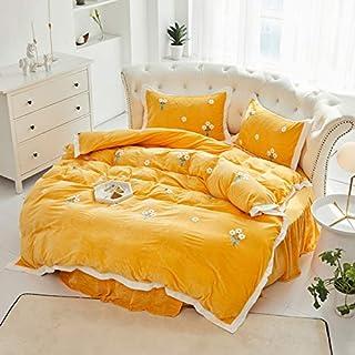 RAOMALV Lit Rond Costume Quatre pièces Mariage de Style européen Drap de lit en Polaire Corail Rond Jupe de lit Drap de li...