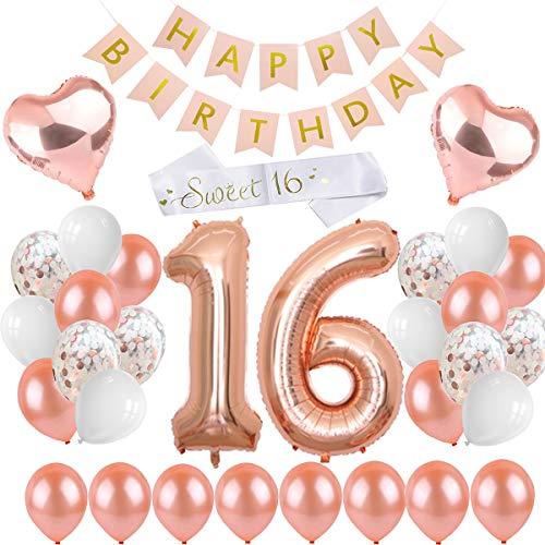 PEIPONG 16. Geburtstag Dekoration für Mädchen, Happy Birthday Banner, Rose Gold Ballon Mädchen Geburtstagsfeier Liefert Dekoration