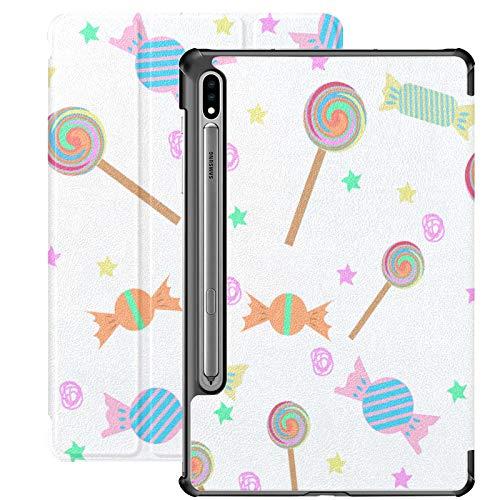 Galaxy Tablet S7 Plus Funda de 12,4 Pulgadas 2020 con Soporte para bolígrafo S, patrón de piruletas de Dibujos Animados Funda Protectora de Folio con Soporte Delgado y Colorido para Samsung
