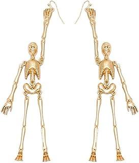 LOGU Women's Vintage Retro Halloween Party Jewelry Skull Earrings Punk Gothic Skeleton Stud Earrings Ear Clips (Color : Ye...