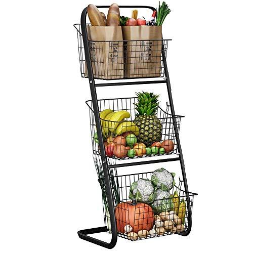 XWX 3 Tier Market Basket Basket Archiviazione Organizzatore Frutta Verdure Produrre Metallo Appeso...