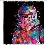 vrupi Star Wars Duschvorhänge Imperial Commando Ersatz Creative Universe Alien Army Cool Pink Schwarz 71x71inch Waschen Wasserdichtes Gewebe Enthält zwölf Kunststoffhaken