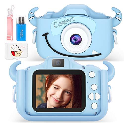 Cámara de vídeo para niños, 20 megapíxeles, cámara digital selfie y cámara de vídeo con doble lens/pantalla HD 1080P/32G TF, juguete de cumpleaños para niños y niñas de 3 a 14 años