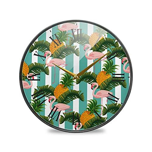 Piñas Flamingo Grulla Coronada Roja Arte Reloj de Pared Silencioso Decorativo Relojs para Niños Niñas Cocina Hogar Oficina Escuela Decoración