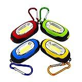 Majome 4 Unids/Set Portátil Mini Llavero COB LED Luz de Noche Bolsillo Llavero Antorcha Lámpara Linterna con Mosquetón