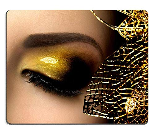 (Eyes Mouse Pad) Naturgummi Gaming Mousepad Mode Glamour Makeup Holiday Gold Glitzernde Lidschatten