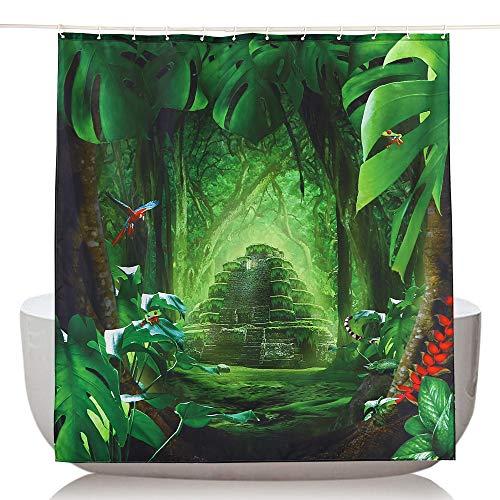Topmail 3D Duschvorhang Grün Wald Tier aus Polyester mit 12 Duschvorhangringe für Badezimmer Wasserabweisend & Anti-Schimmel Waschbare badvorhang (180 x180 cm)