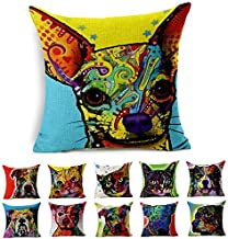 Cotton Linen Canvas Decorative Square Throw Pillow Cover Pack of 1 for 18 x 18 Pillow Inserts in Sofa Home Car Couch (Chih...