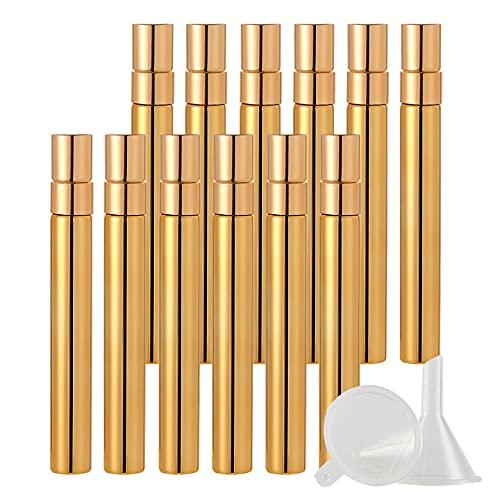 BasicPacking 48 Pieza 10ml Perfume Frasco de Cristal Oro Brillante con Pulverizador para Perfume, Mini Botella de Vidrio con Bomba en Spray Atomizador, Recargable + 8 x Embudo