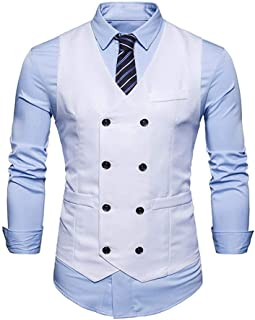 Men's Vests Slim Fit Leisure Men's Business Modern Modern Casual Vests Tuxedo Waistcoat Slim Fit Wedding Suit Vest Baomwoo...