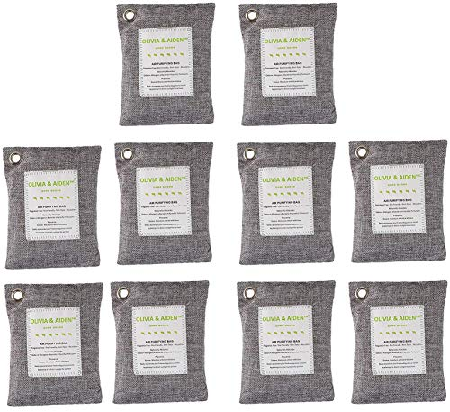 Find Discount OLIVIA & AIDEN 10 Pack - Large 200g Bags - Activated Bamboo Charcoal All Natural Air F...