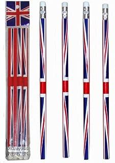 I Love London Souvenir / 5 UNION JACK FLAG PENCILS / ENGLAND BRITAIN LONDON SOUVENIR