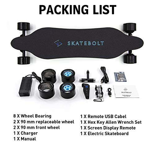SKATEBOLT Electric Skateboard Breeze II Electric Longboard 28 MPH Top speed, 15 Miles Range, Dual 350 W Motors, 30% Climbing Capacity, Glassfiber & Bamboo Deck Electronic Longboard with Remote Control