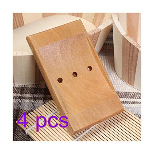 æ— 4 STKS Houten Zeep Vaatwasser, Handgemaakte Houten Zeep Houder, Sink Deck Badkuip Bar Soap Case Box Rack, Cleansing Soaps Houten Pallets, Natuurlijke Bamboe Houder