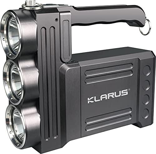 klarus RS80GT - Linterna LED recargable (10.000 lúmenes, muy clara, con función USB Out Power Bank y lámpara de mesa para camping, pesca, aventura, senderismo