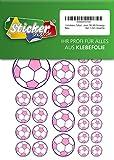 114, Fútbol, pegatinas, 15–50mm, color rosa/lila, de PVC, pantalla, estampado, autoadhesivo, EM, WM, Bundesliga