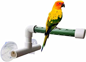 Hypeety Bird Parrot Stand Perch Shower Standing Toy Portable Suction Cup Parrot Shower Perch Bath Stands Suppllies Holder Platform Parakeet Finch Window Sturdy Hanging Play (SMALL)
