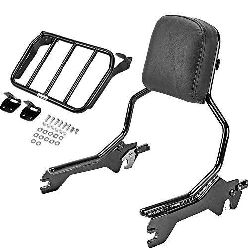 WSays Gloss Black Quick Release Upright Sissy Bar Standard Height Passenger Backrest & Sport Luggage Rack Compatible with 2018-Up Harley Softail Fat Boy Breakout FLFB FXBR