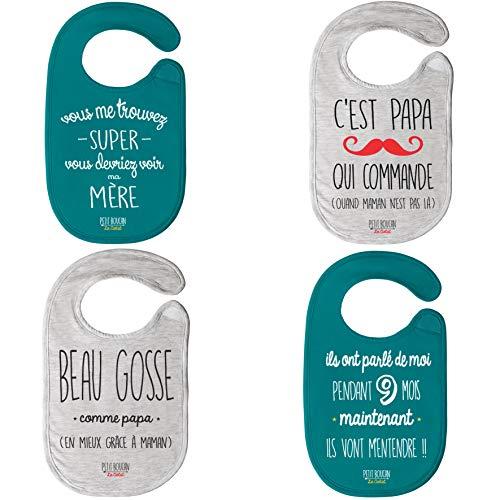 Petit Boucan - lot de 4 bavoirs bébé garçon - 100% coton doux - doublé en éponge coton très absorbant