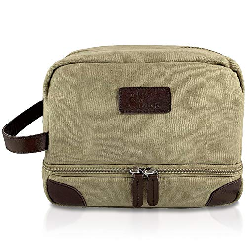 Extra Durable Toiletry Bag for Women & Men| Padded Travel Toiletry Bag Keeps Delicate Items Safe| Hanging Toiletry Bag with Added Space for Makeup & Shaving Kits (Khaki)