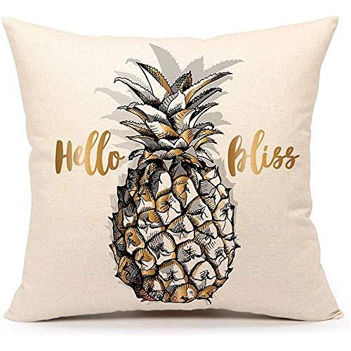 WEURIGEF Hello Bliss Ananas Dekokissen Fall Kissenbezug für Sofa Couch 45 * 45cm Baumwolle Leinen