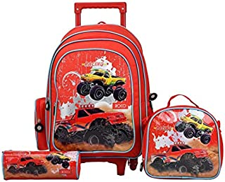 ROCO Bag TROLLEY 17inch RACING 3-IN-1,with pencil case & Lunch Bag