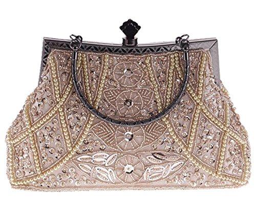 ERGEOB Damen Clutch Pfau bunten festlichen Flanell Abendtasche für Party Hochzeit Theater Kino Champagner Farbe