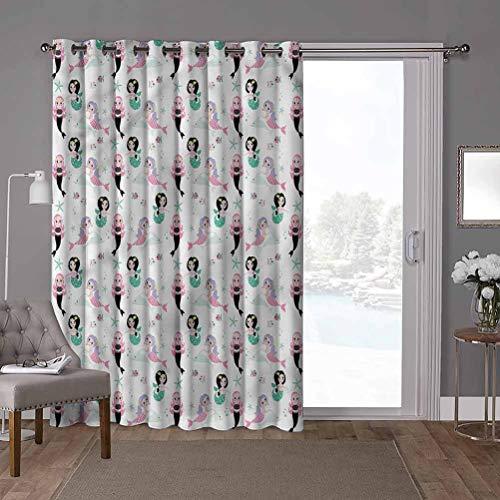 YUAZHOQI Panel de cortina de puerta corredera de bajo consumo, diseño de sirena, alegre dibujos animados, 100 x 96 pulgadas de ancho persianas verticales para puerta de honda (1 panel)