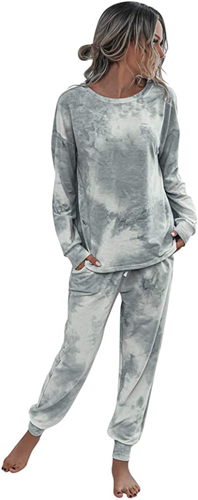 Pajama Set for Women,Womens Tie Dye Printed Long Sleeve Pajamas Set Long Tops and Pants 2 Piece Joggers Nightwear
