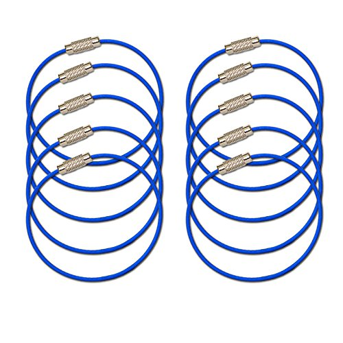 MantaRing - Cable Key Ring with Screw Lock - Strong, Flexible, Waterproof. One Ring for Keys and So Much More (10 Pack) (Blue)