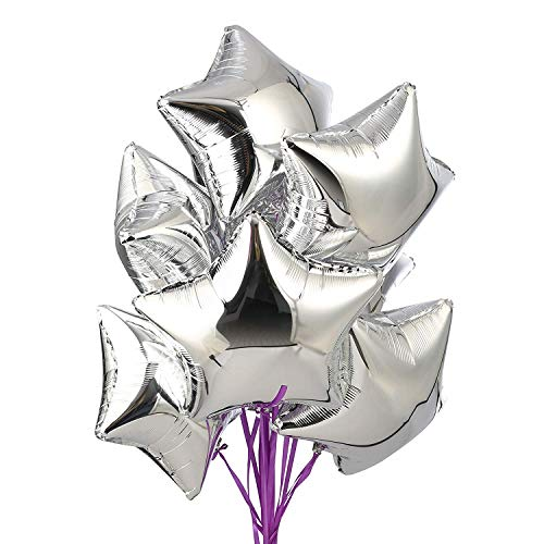CozofLuv 25 Stück 18 Zoll Stern Folienballon Luftballons Sternluftballons Heliumballon Folienluftballon Ballone für Geburtstag, Hochzeit, Valentinstag, Weihnachtsfeierdekoration (Silberner Stern)
