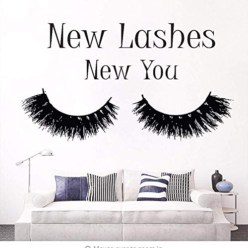 New Lashes New You Extension Cils Maquillage Citation Sticker Chambre à coucher New Lashes Mascara Decal Beauty Salon Decor Cosmetics Wall Art 42 x 75 cm