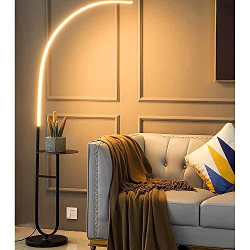 KKING Lámpara de pie Lámpara de pie LED Regulable Moderna, lámpara de pie para Sala de Estar y Dormitorio, Negro, lámpara de pie con Control Remoto, atenuación Continua,Iron Art