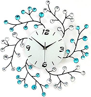 WHLXCQ Wall Clocks Iron Diamond Clock Bell Large Room Decoration Clocks Fashion Originality Mute Quartz Clock