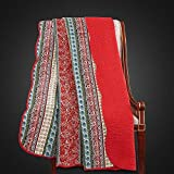 Alicemall Tagesdecke Quilt Baumwolle mit Blumenmuster & Wellensaum Bettwäsche Doppelbett Sommerdecke Steppdecke 150 x 200 cm ( Retro Rot )