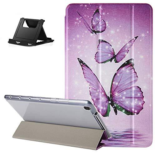 Shinyzone Hülle für Huawei MediaPad M5 Lite 8,Dreifach Trifold Stand Smart Cover mit Auto Schlaf/Wach,Lila Schmetterling Muster Design Leder Flip Transluzent Rückseite Schutzhülle