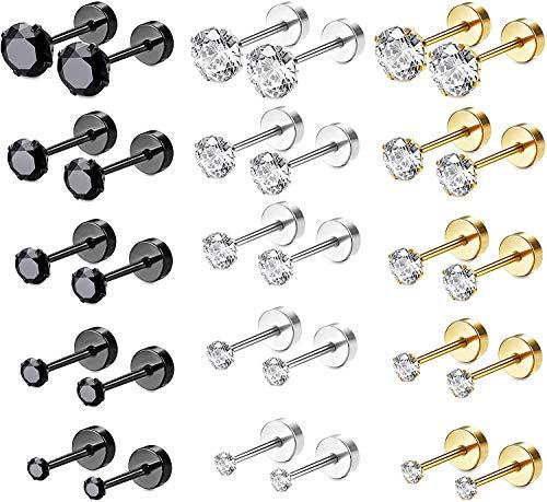 Milacolato 15 Pairs Stainless Steel CZ Stud Earrings Screw Flat Back Barbell Cartilage Piercing Earrings for Women Men