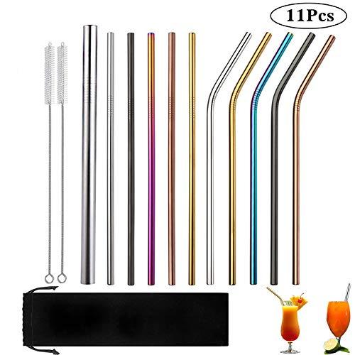 Devlop 11 STK. Bunte Edelstahlstrohhalme, 8,5-Zoll Wiederverwendbare Trinkhalme mit Regenbogen für Smoothie, Milchshake, Cocktail und Heißgetränk (6 gerade / 5 Gebogene / 2 Bürsten)